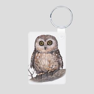 Wide Eyed Owl Aluminum Photo Keychain