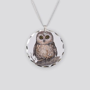 Wide Eyed Owl Necklace Circle Charm