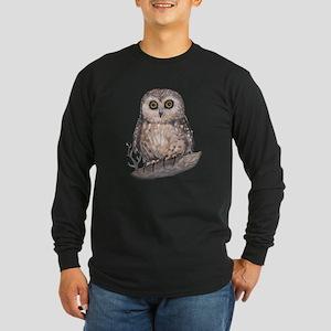 Wide Eyed Owl Long Sleeve Dark T-Shirt