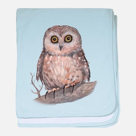 Wide Eyed Owl baby blanket