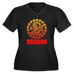 Tribal dragon 2 Women's Plus Size V-Neck Dark T-Sh