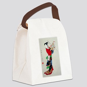 Woman with Puppet Canvas Lunch Bag