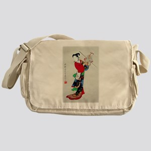 Woman with Puppet Messenger Bag
