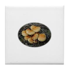 Golden Mushrooms Tile Coaster