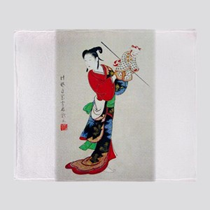 Woman with Puppet Throw Blanket