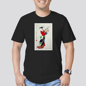 Woman with Puppet Men's Fitted T-Shirt (dark)