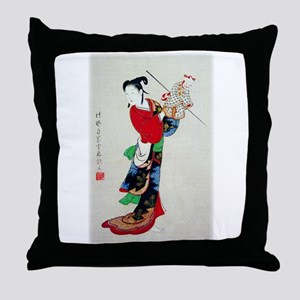 Woman with Puppet Throw Pillow