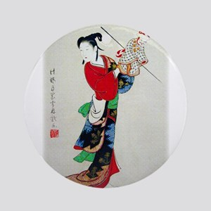 Woman with Puppet Round Ornament