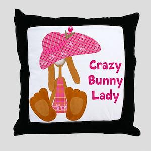 Customizable: Bunny Lady Throw Pillow