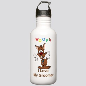 """""""Woof"""" I Love My Groomer Stainless Water Bottle 1."""