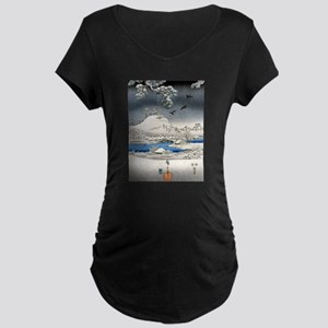 Viewing the Snow (center) Maternity Dark T-Shirt