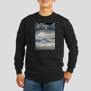 Viewing the Snow (center) Long Sleeve Dark T-Shirt