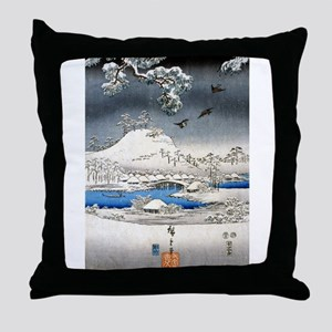 Viewing the Snow (center) Throw Pillow