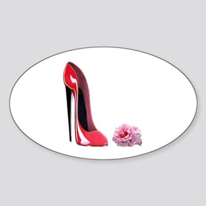 Red Stiletto Shoe and Rose Ar Sticker (Oval)