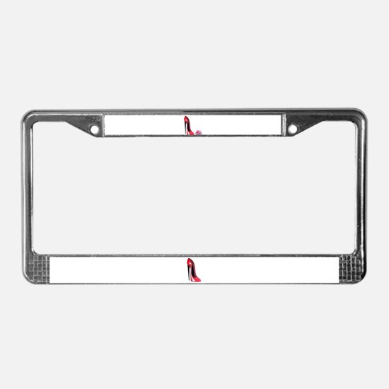 Red Stiletto Shoe and Rose Ar License Plate Frame
