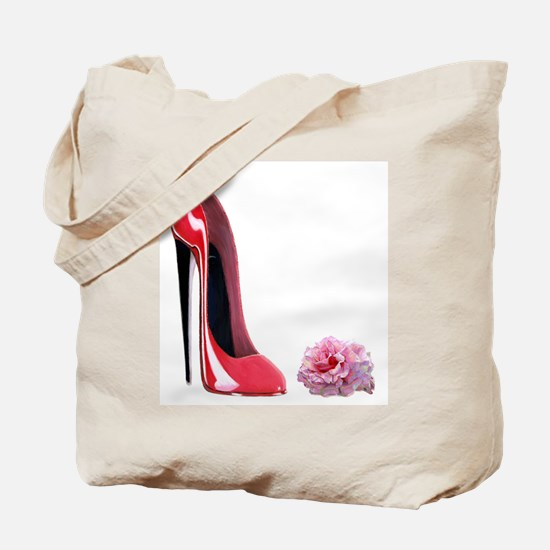 Red Stiletto Shoe and Rose Ar Tote Bag