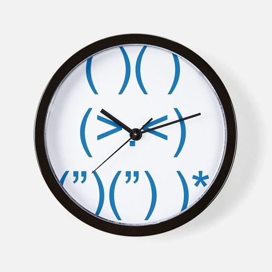 Angry Bunny Blue Wall Clock
