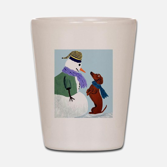 Dachshund And Snowman Shot Glass