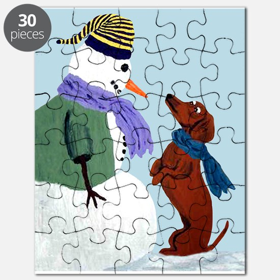Dachshund And Snowman Puzzle