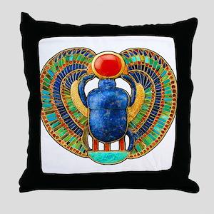 King Tutankhamuns Scarab Flat Throw Pillow