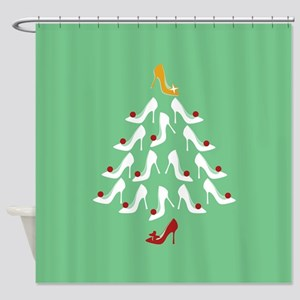 High Heel Shoe Holiday Tree Shower Curtain