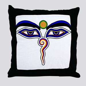 The Eyes of the Buddha Throw Pillow