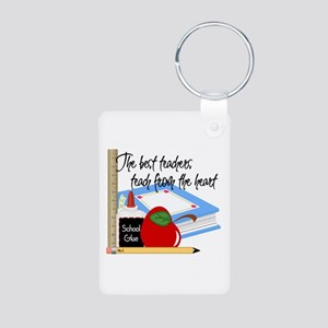 Teach From Heart Aluminum Photo Keychain