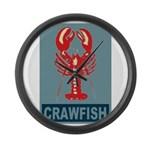 Crawfish In Red and Blue Large Wall Clock