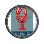 Crawfish In Red and Blue Wall Clock