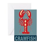Crawfish In Red and Blue Greeting Cards (Pk of 10)