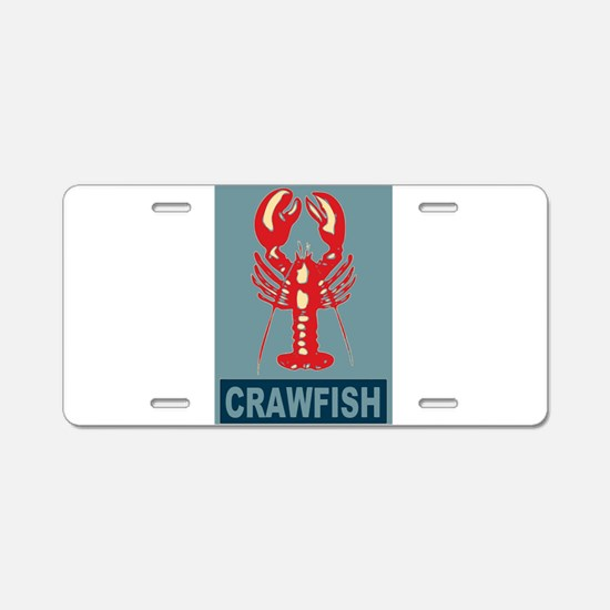 Crawfish In Red and Blue Aluminum License Plate