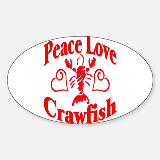 Peace Love Crawfish Sticker (Oval)