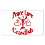 Peace Love Crawfish Sticker (Rectangle)