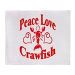 Peace Love Crawfish Throw Blanket
