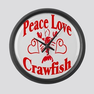 Peace Love Crawfish Large Wall Clock
