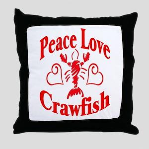 Peace Love Crawfish Throw Pillow