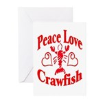 Peace Love Crawfish Greeting Cards (Pk of 10)