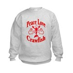 Peace Love Crawfish Kids Sweatshirt