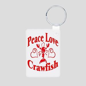 Peace Love Crawfish Aluminum Photo Keychain