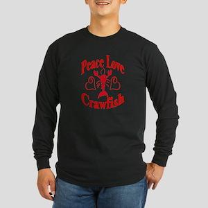Peace Love Crawfish Long Sleeve Dark T-Shirt