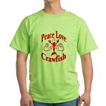 Peace Love Crawfish Green T-Shirt