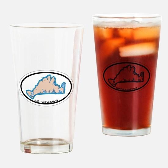 Martha's Vineyard MA - Oval Design. Drinking Glass