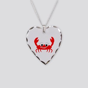 Crab Design Necklace Heart Charm