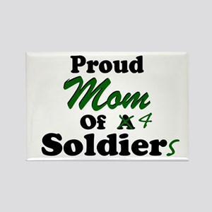 Proud Mom 4 Soldiers Rectangle Magnet