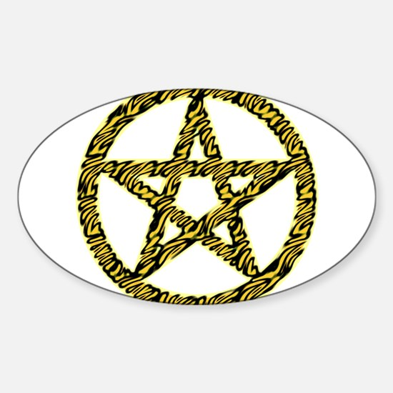 Tiger Stripe Pentacle Sticker (Oval)