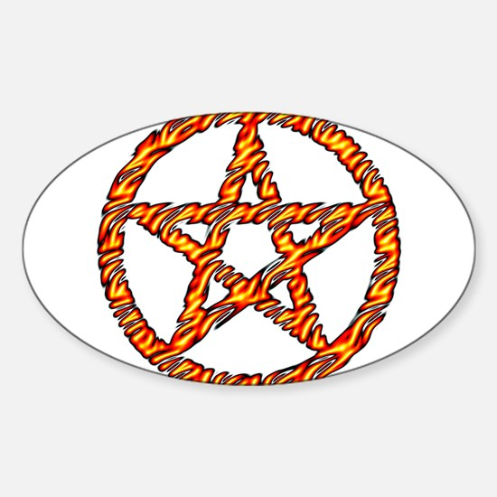 Pentacle of Fire Sticker (Oval)