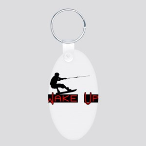 Wake Up 1 Aluminum Oval Keychain