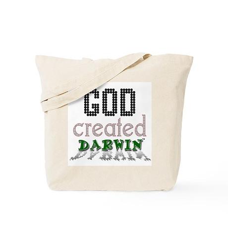 God Created Darwin Tote Bag