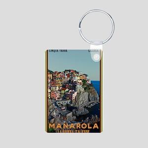 Manarola Town Aluminum Photo Keychain
