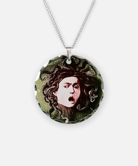 Medusa by Caravaggio on white.png Necklace